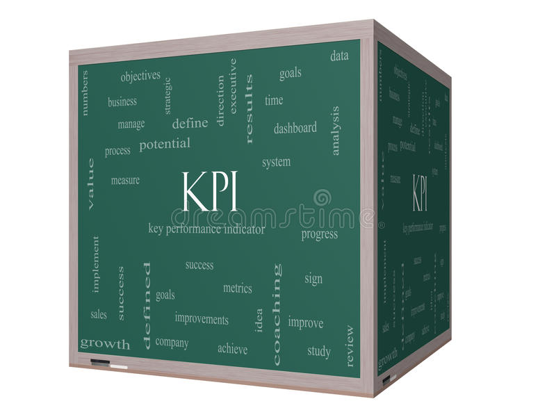 KPI słowa chmury pojęcie na 3D sześcianu Blackboard ilustracja wektor