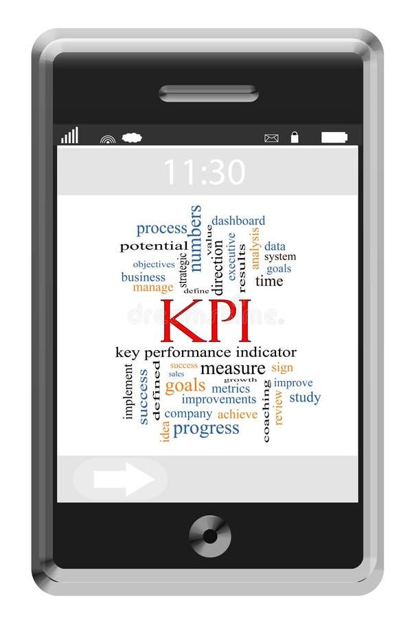 KPI słowa chmury pojęcie na ekranu sensorowego telefonie zdjęcie stock