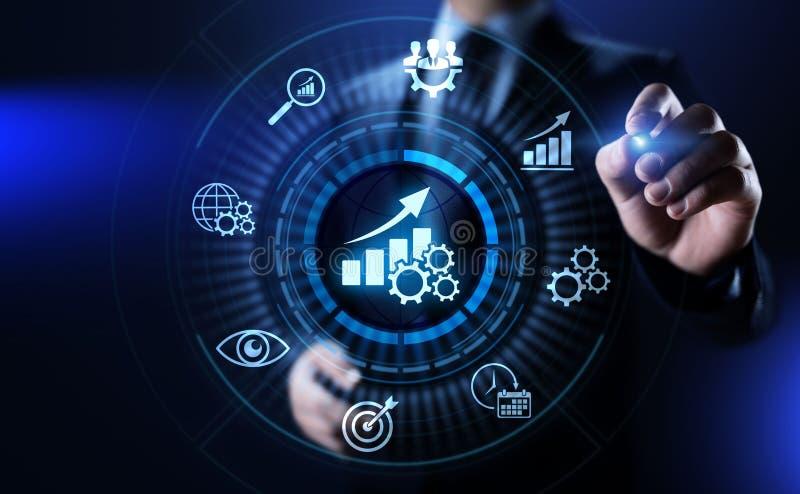 KPI-Schlüsselleistungsindikatorzunahmeoptimierungsgeschäft und industrieller Prozess stockbild