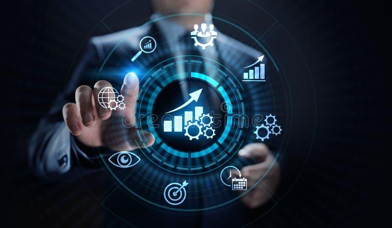 KPI-Schlüsselleistungsindikatorzunahmeoptimierungsgeschäft und industrieller Prozess lizenzfreie stockfotografie