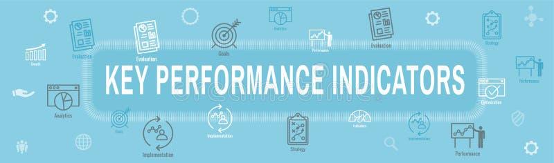 KPI - Sistema de la portada y del icono del web de los indicadores de rendimiento clave libre illustration