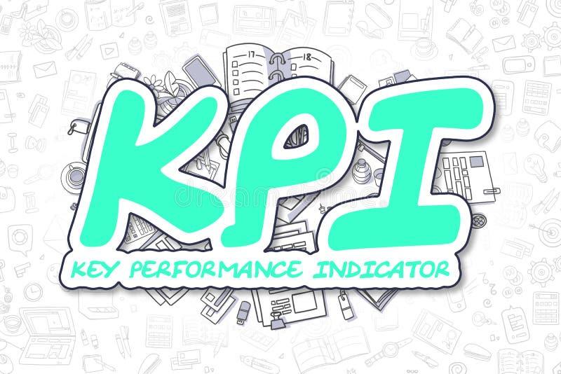 KPI - Texto verde de la historieta Concepto del asunto stock de ilustración