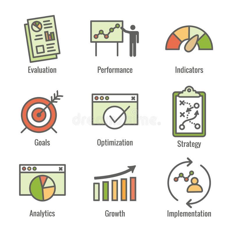 KPI - Uppsättning för symbol för indikatorer för nyckel- kapacitet med utvärdering, tillväxt, & strategi, etc. royaltyfri illustrationer