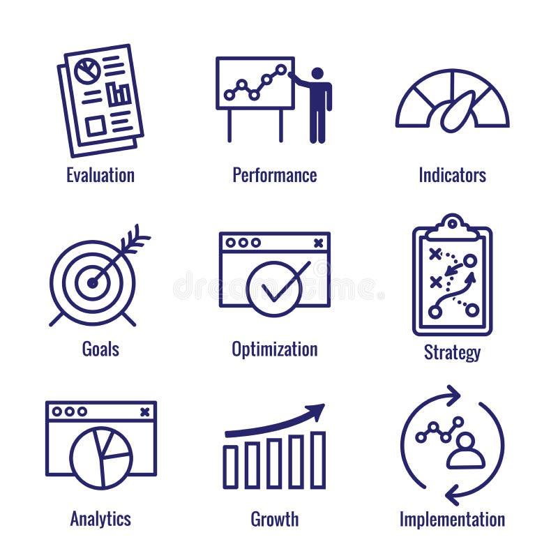 KPI - Uppsättning för symbol för indikatorer för nyckel- kapacitet med utvärderingen, Growt vektor illustrationer