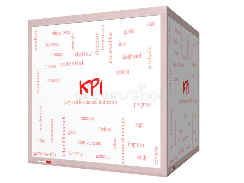 KPI-Word Wolkenconcept op een 3D kubus Whiteboard stock fotografie
