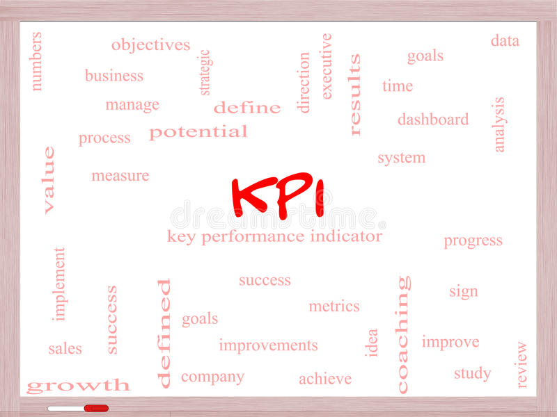 KPI-Word Wolkenconcept op een Whiteboard royalty-vrije stock fotografie