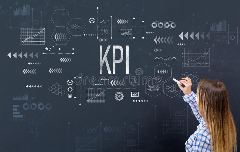 KPI with young woman stock image