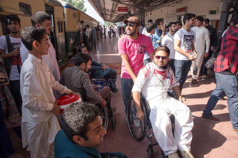KPK-regeringen ordnar en Azadi drevhändelse för ogiltigt folk I royaltyfria foton