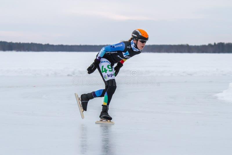KPN Grand Prix dans Lulea, Suède 2019 Femme seule image stock