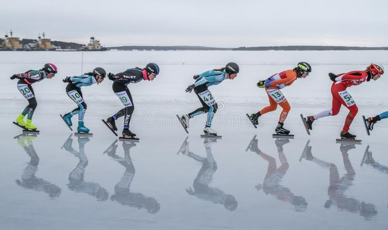 KPN Grand Prix dans Lulea, Suède, 2019 Femmes dans une rangée photo libre de droits