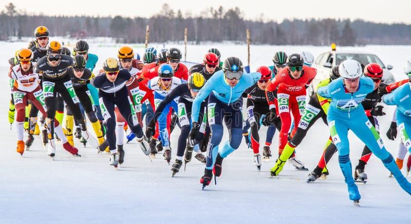 KPN Grand Prix dans Lulea, Suède, 2019 Groupe de patinage de glace des hommes images libres de droits