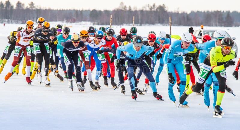 KPN Grand Prix dans Lulea, Suède, 2019 Groupe de patinage de glace des hommes photo stock