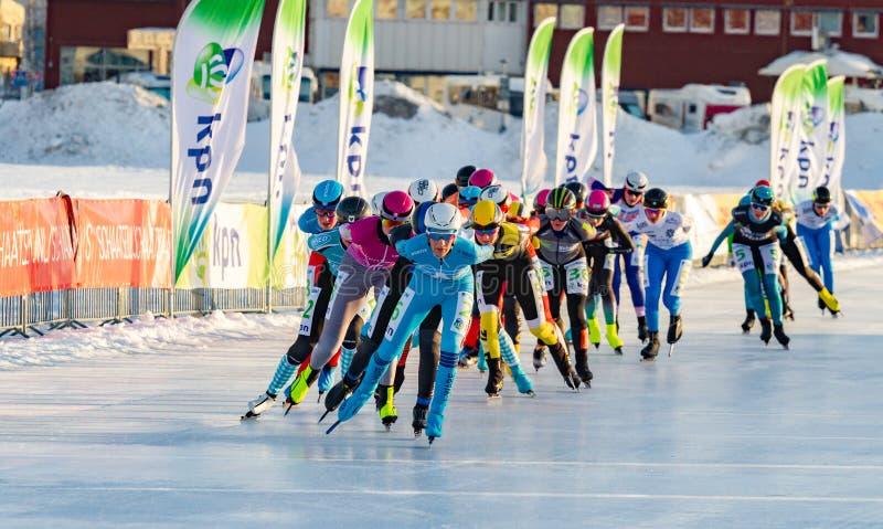KPN Grand Prix dans Lulea, Suède, 2019 Groupe de patinage de glace de femmes photo stock