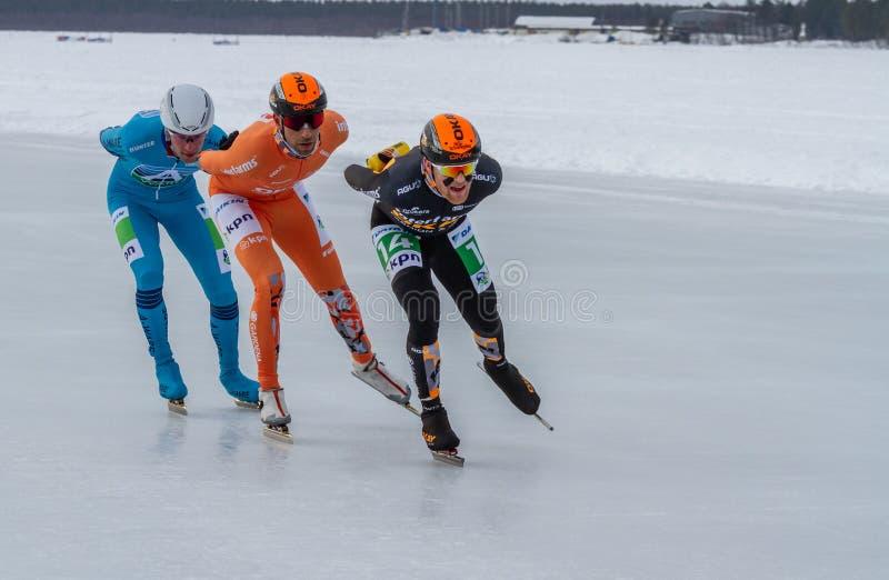 KPN Grand Prix en Lulea, Sewden, 2019 Tres hombres compiten fotos de archivo libres de regalías