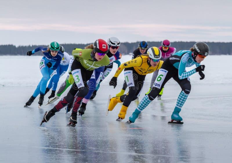 KPN Grand Prix en Lulea, Suecia, 2019 Grupo de patinaje de hielo de las mujeres imágenes de archivo libres de regalías