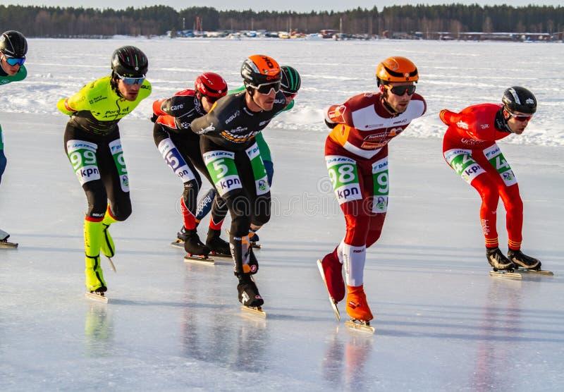 KPN Grand Prix en Lulea, Suecia, 2019 Grupo de patinaje de hielo de los hombres fotografía de archivo