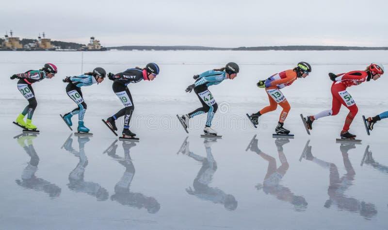 KPN Grand Prix en Lulea, Suecia, 2019 Mujeres en fila foto de archivo libre de regalías
