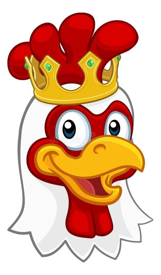 Królewiątko kurczaka koguta Cockerel korony Ptasia kreskówka royalty ilustracja