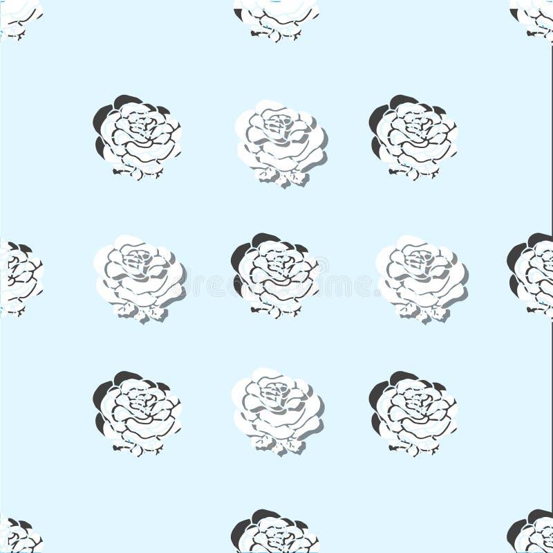 Królewski adamaszka wzór róże luz papieru cięcie Moda w wektorowej ilustraci royalty ilustracja