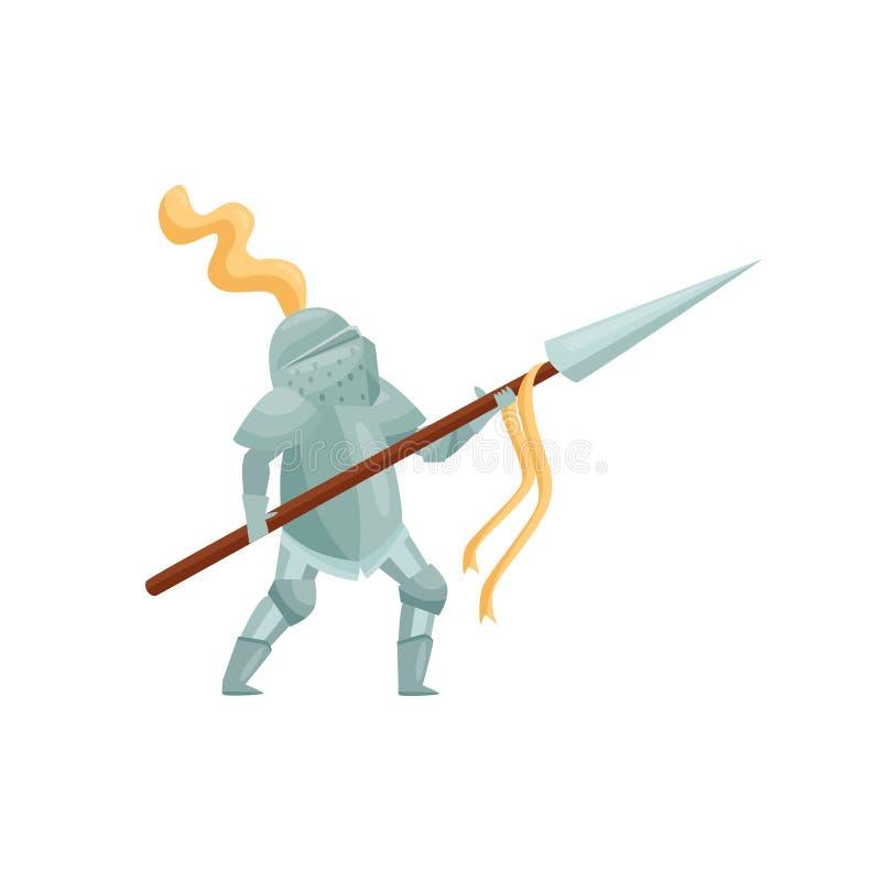 Królewski rycerz z dzidą w rękach w bój pozie Odważny wojownik w żelaznym opancerzeniu Średniowieczny bohater Płaski wektorowy pr ilustracja wektor