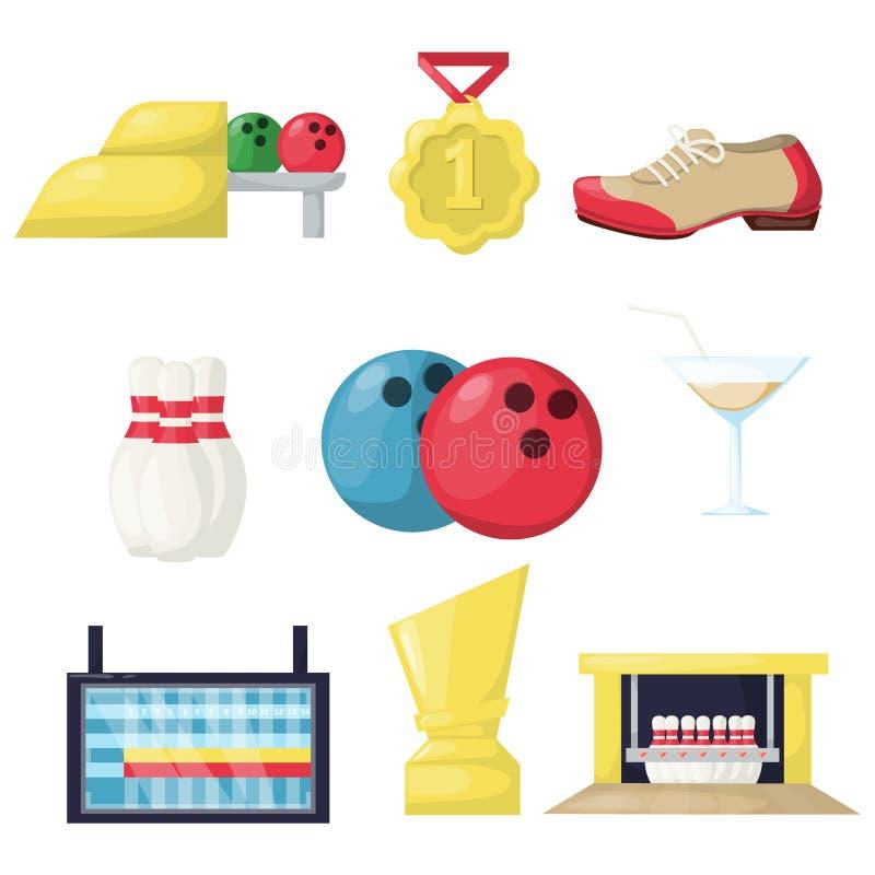 Kręgle czasu wolnego hobby aktywności equipmen wektoru ilustracja Rodzinna salowa gemowa sport zabawy celu skittle aleja strona royalty ilustracja