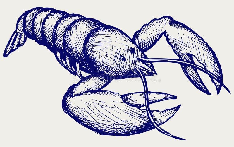 Kräftan skissar Klottra stil stock illustrationer