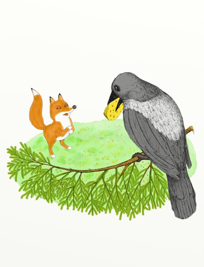 Krähe und der Fox stockbild