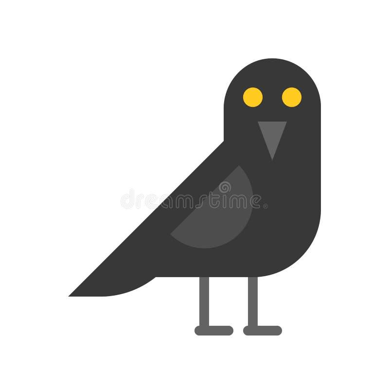 Krähenvogel, Halloween bezog sich Ikonenvektorillustration vektor abbildung