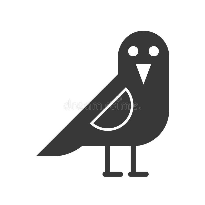 Krähenvogel, Halloween bezog sich Ikonenvektorillustration lizenzfreie abbildung