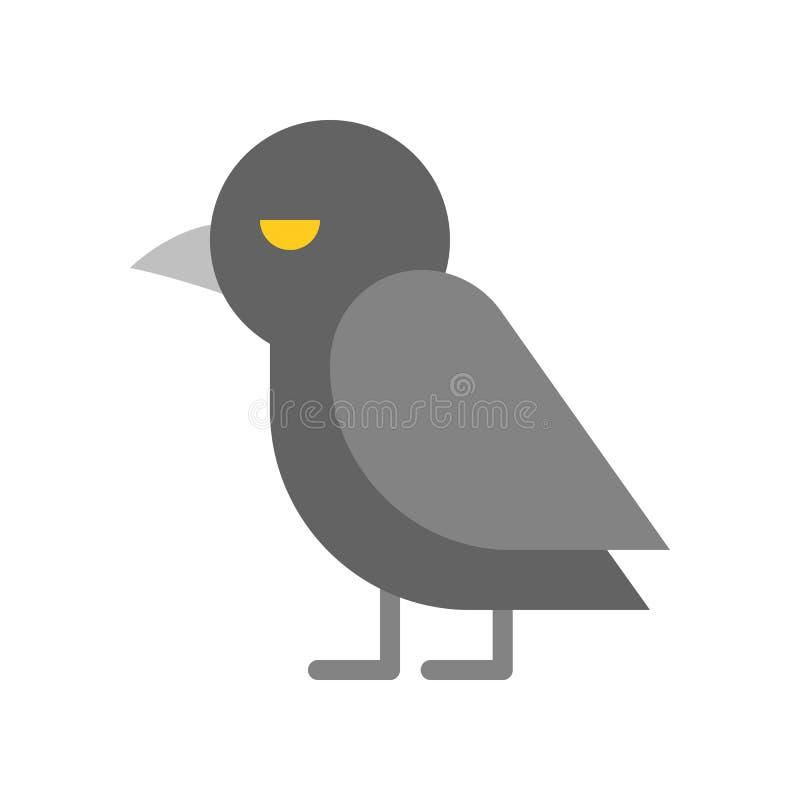 Krähenvogel, Halloween-Zeichensatzikone, flacher Entwurf lizenzfreie abbildung