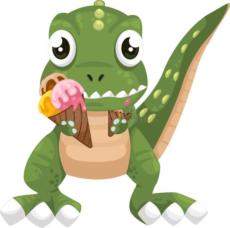 kräm- dinosaur som äter isvektorn vektor illustrationer