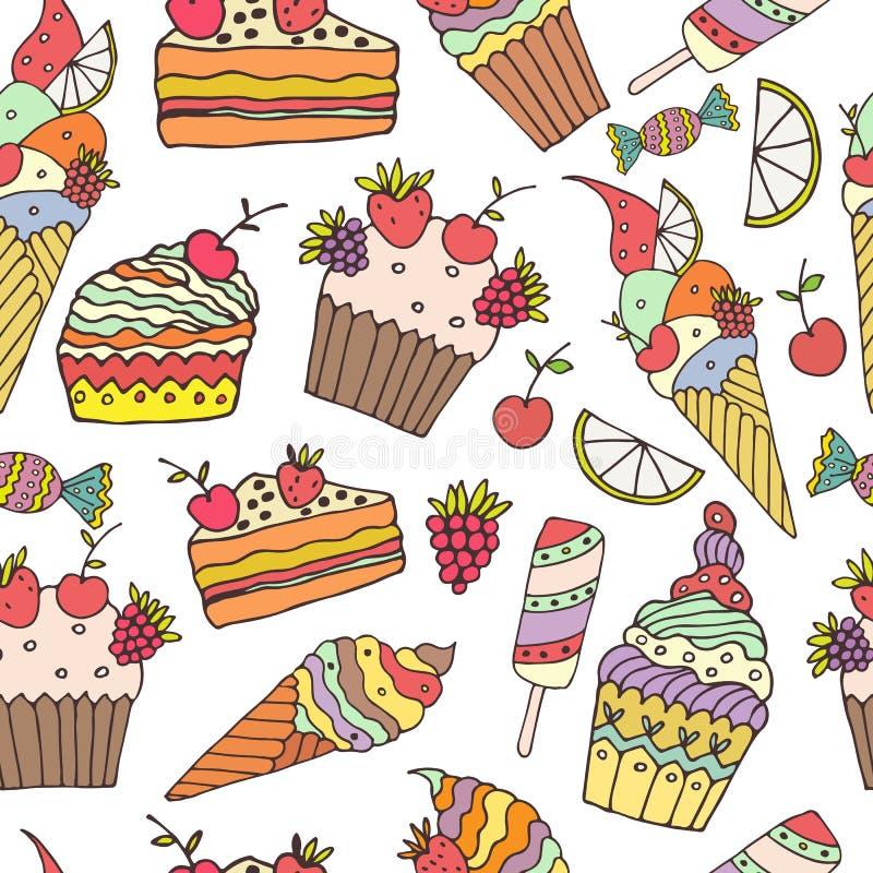 kräm- is för cake stock illustrationer