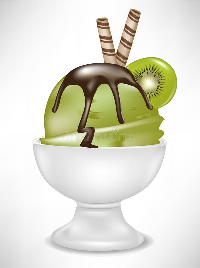 kräm- iskiwi för bunke royaltyfri illustrationer