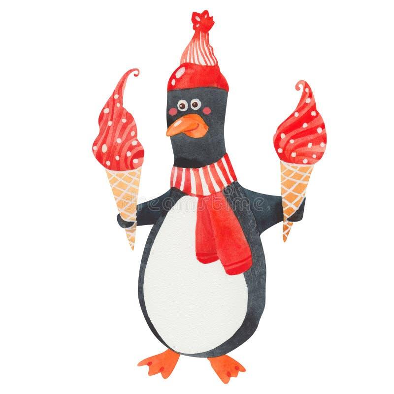 kräm- ispingvin stock illustrationer