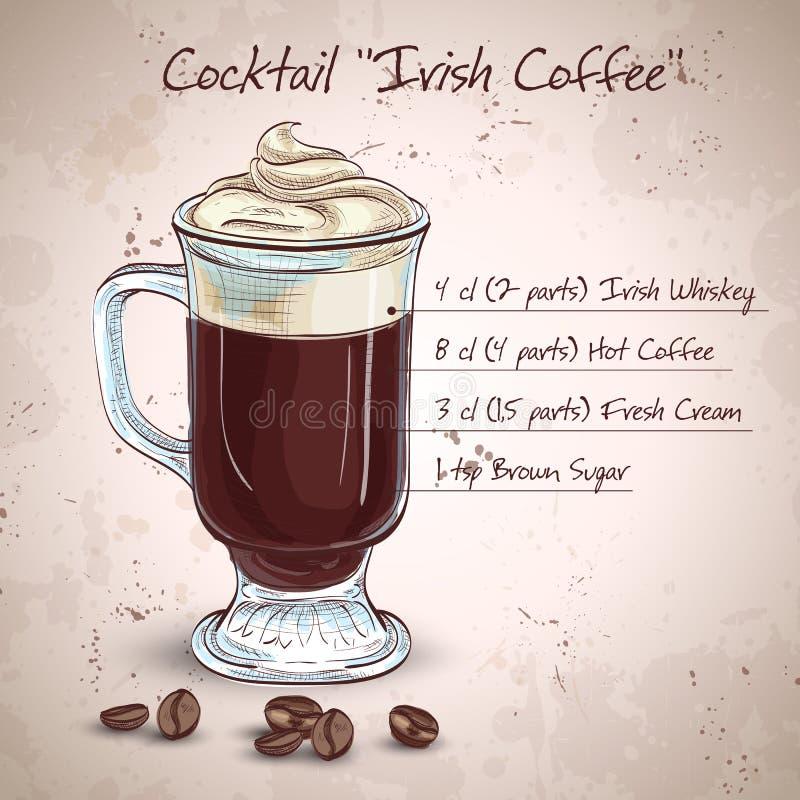 Kräm- kaffe för irländare stock illustrationer