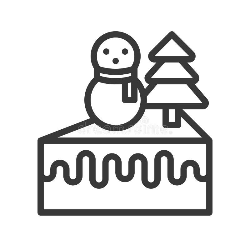 Kräm- kakagarnering med snögubben och att sörja trädsymbolen redigerbart vektor illustrationer