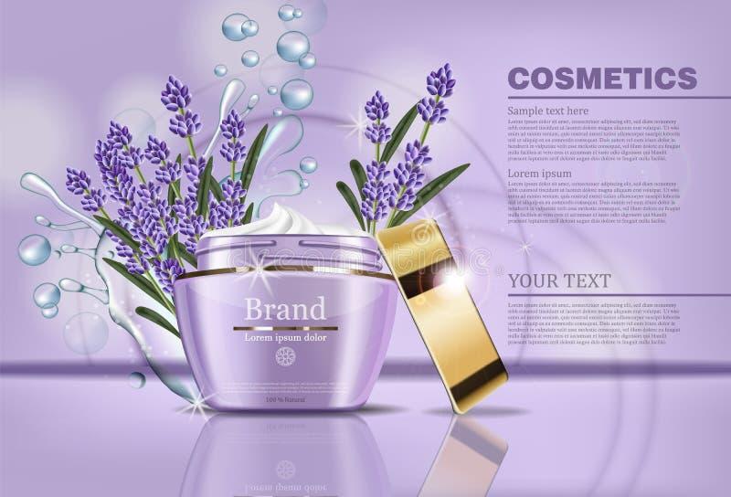 Kräm- kosmetisk vektoråtlöje för lavendel upp Förpackande etikettdesign för realistisk produkt Waterdrops och lavederblommor vektor illustrationer