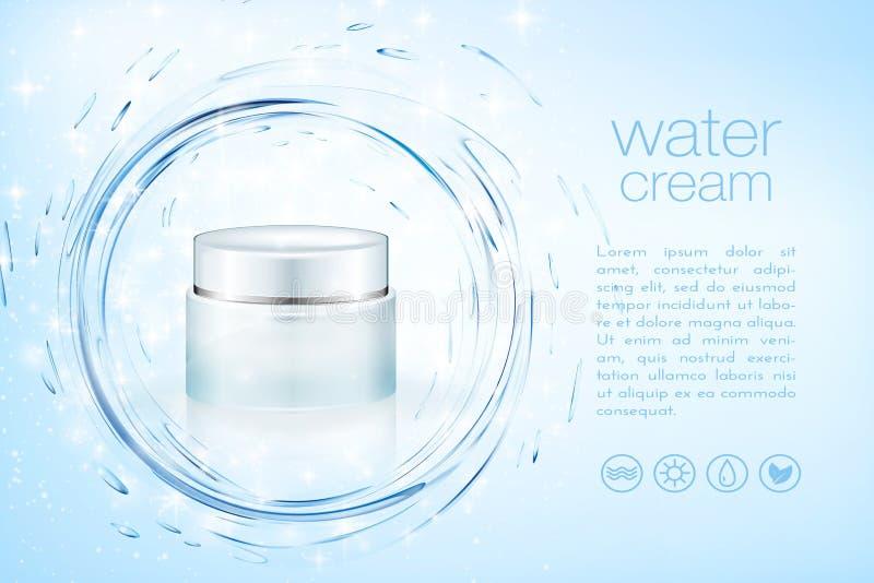 Kräm- kosmetiska produktannonser för Aqua som hydratiserar ansikts- skincareåtlöje upp mallen för säsongsbetonad försäljning för  stock illustrationer