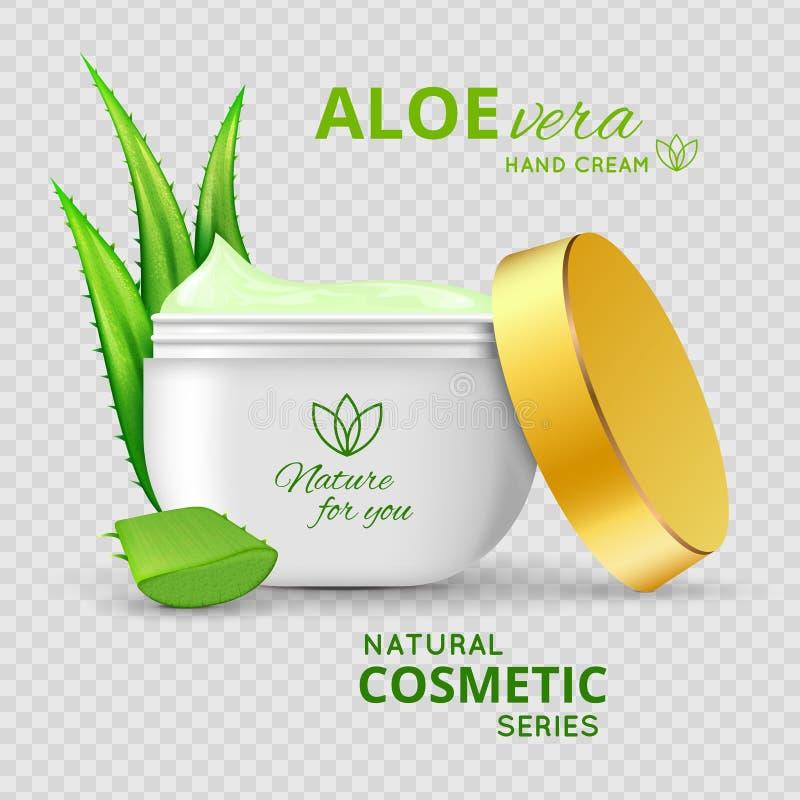 Kräm- naturlig seriedesign för aloe royaltyfri illustrationer