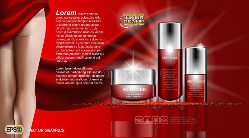 Kräm och lotion för kropp för skönhet för hudomsorg Fukta den kosmetiska annonsmallen Realistisk kvinnakontur för modell 3D stock illustrationer