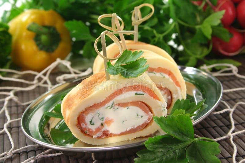 kräm- pannkakalax för ost royaltyfri bild