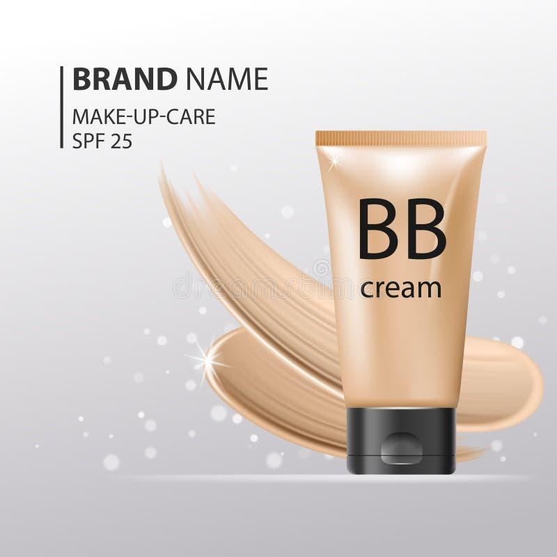 Kräm- plast- rörmall för BB Makeupmodellen för annonser eller tidskriftwhithvätskefundament blänker på gnistrandebakgrund stock illustrationer