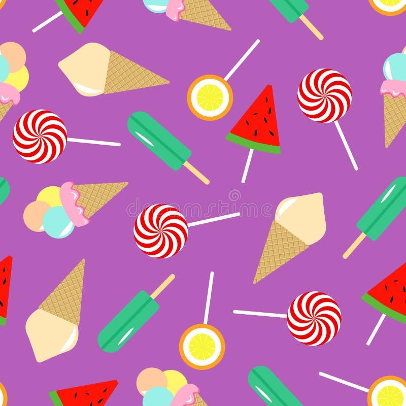 kräm- seamless ismodell sötsaker för illustration för samlingsdesignelement vektor illustrationer