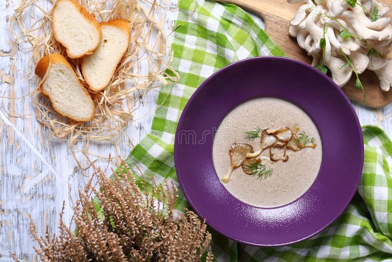Kräm- soppa för champinjon med dill arkivfoton