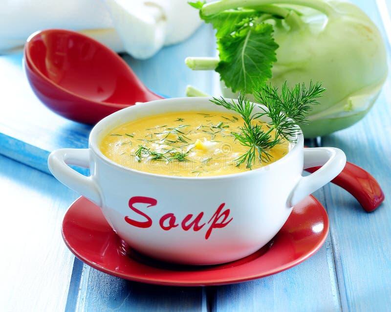 Kräm- soppa för ny kålrabbi med dill arkivfoton