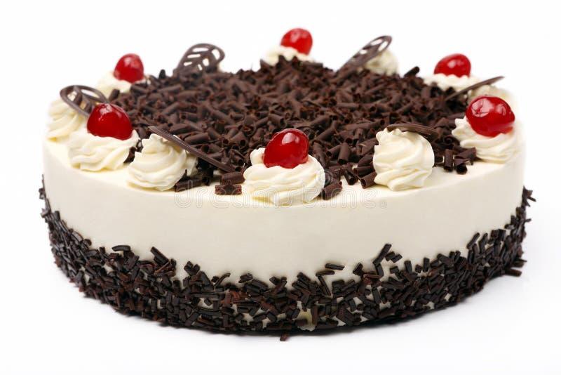 Kräm- vaniljkaka med choklad och körsbär på den vita backgrouen royaltyfri fotografi