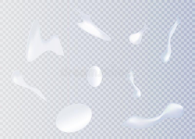 kräm- white Den kosmetiska vita produkten, mousse, stelnar, piskad kräm vektor illustrationer