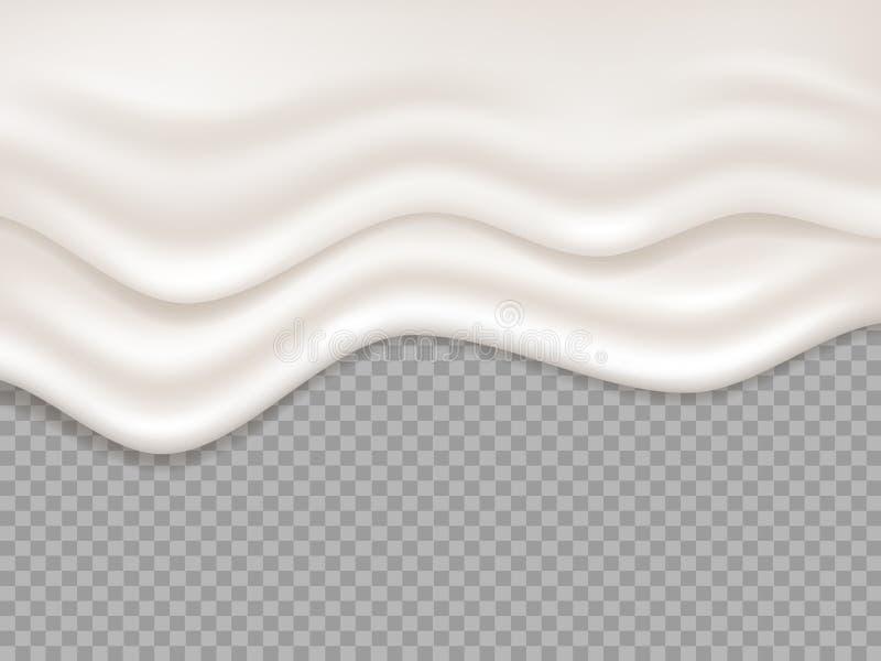 kräm- white Mjölka krämig flytande, yoghurtfärgstänk Genomblött skum, illustration för vektor för efterrättmelt flödande isolerad vektor illustrationer