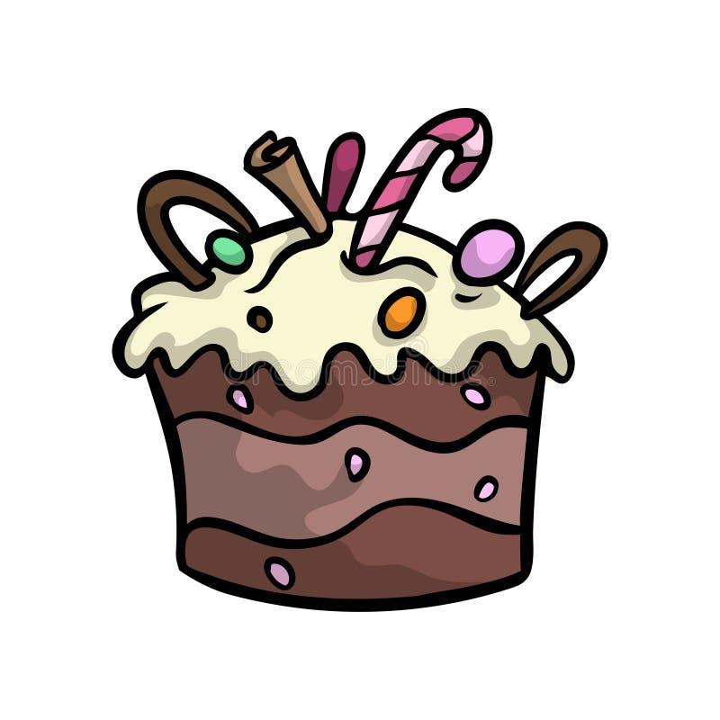 Krämig chokladkaka för födelsedag med godispinnar och muttrar royaltyfri illustrationer
