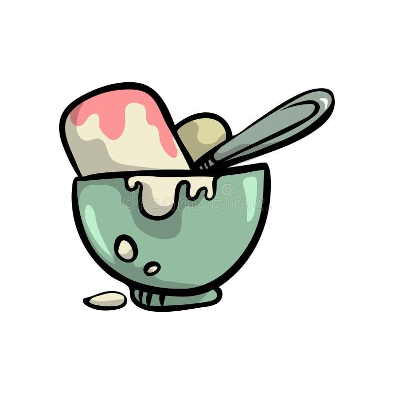 Krämig glass med nya frukter i genomskinlig kruka stock illustrationer